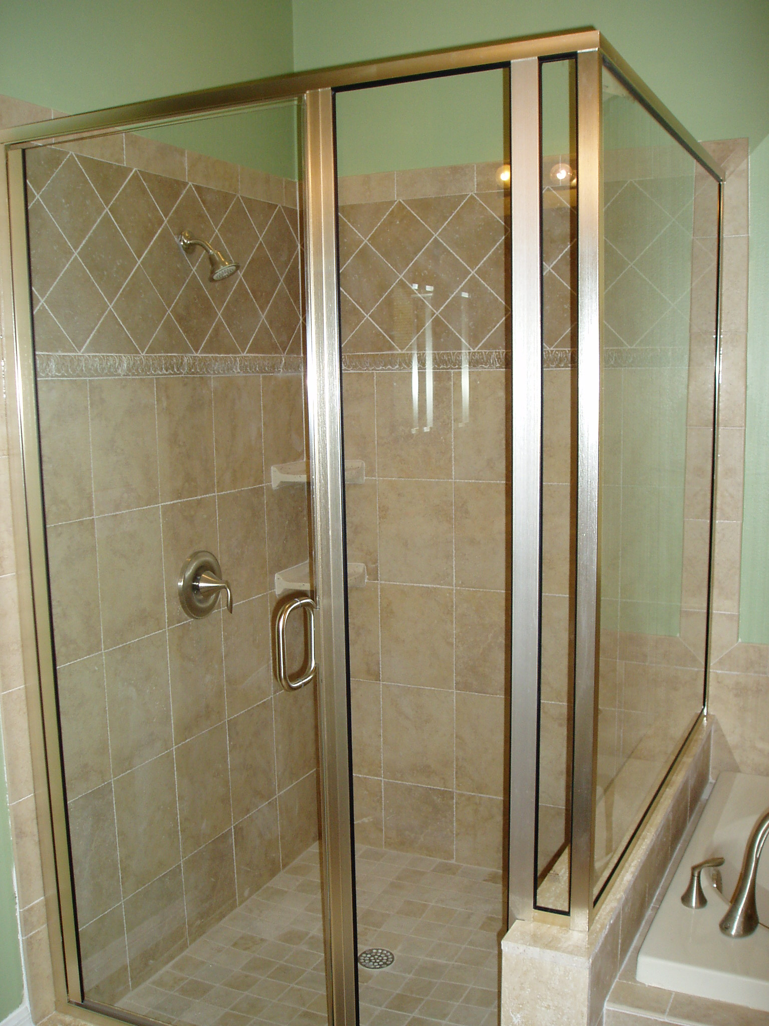 22 frameless rain glass corner shower jpg